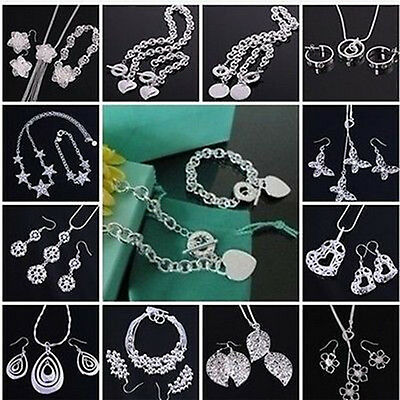 Xmas GIFT Silver Jewelry Sets Earrings/Necklace/Bracelet + Gift Box925