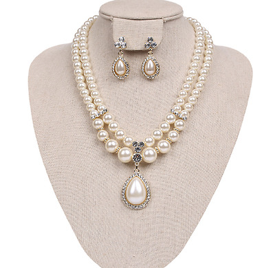 Rhinestone Pearl Necklace Earring Fashion Jewelry Set Wedding Bridal Prom Party