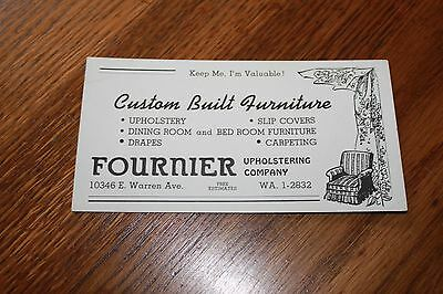 Vintage Advertising  Ink Blotter Card > Fournier Upholstering Company. WA.