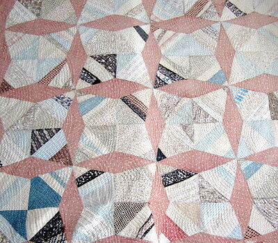 Large Vintage Durham /Welsh Quilt Patchwork hand made shabby worn 206cm x 165cm