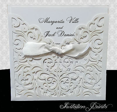 100 Laser Cut Wedding Invitations USA Seller Fast Priority Mail Shipping