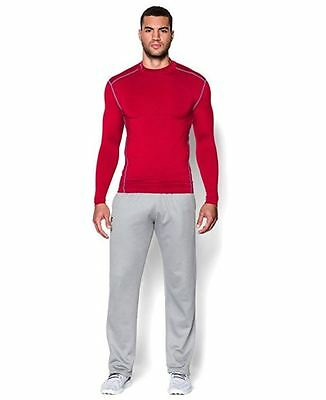 Under Armour UA Men ColdGear Compression Long Sleeve Mock Shirt Red Select Size