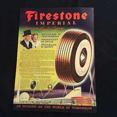 1939 Original Print Ad - Firestone Imperial Tire - Built With Rayodipt Cords