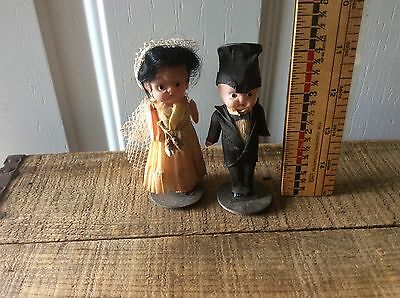 Vintage Celluloid Bride & Groom Wedding Cake Toppers, Williamsport,Moveable Arms