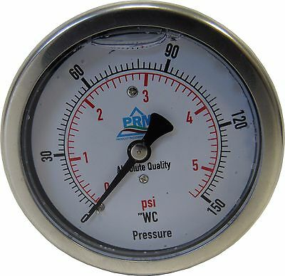 "Prm 0-150"" Wc / 0-5 Psi Pressure Gauge 2.5"" Ss Case 1/4 Inch Npt Brass Back Nib"