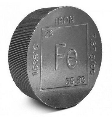 Fine .999 Pure Iron Bullion - 2 Pound Round- 2lb - Collectable Element Design