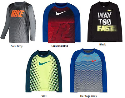 Nike Little Boys DriFit Long Sleeve Tee Shirt Choose Size & Color NWT