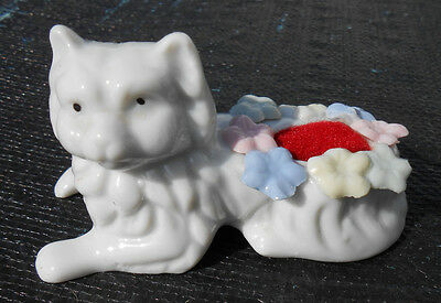 Vintage White Porcelain Cat Pin Cushion with Flowers Made in Taiwan