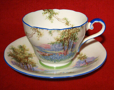 AYNSLEY *BLUEBELL TIME* TEA CUP & SAUCER MEADOW made in england