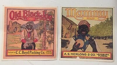 Early Florida Citrus Crate Label Postcards - Old Black Joe Brand and Mammy Brand