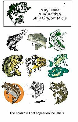 Personalized Return Address labels Bass Fishing Buy 3 get 1 free