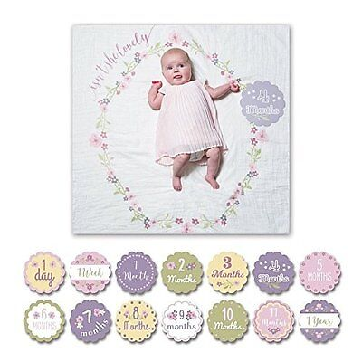 lulujo Baby Babys First Year Milestone Blanket and Cards Set, Isnt She Lovely