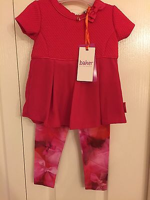 Ted Baker Girls Textured Top And Floral Leggings Set. 12-18 Months . BNWT.