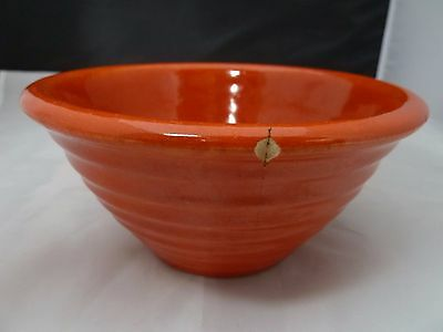 "Vintage Bauer Pottery 6"" Orange Ribbed Mixing Bowl - Super Brilliant Color! Wow"