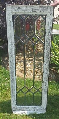 "Antique Large 47"" Leaded Glass Beveled Window Geometric Architectural Salvage"