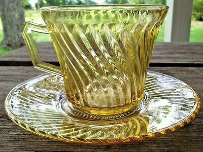 Depression Glass Diana Cup & Saucer Set Amber Federal Glass 1937-41
