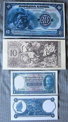 1920 10 Dinara, 1935 Government of the Straits $1, 10 Talents, Copy Reprints