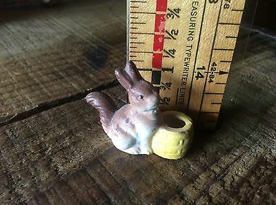 Vintage Bisque Bunny Rabbit Birthday Candle Holder, Made In Japan