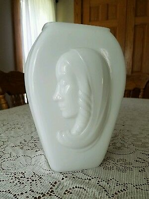 "Vintage White Consolidated Phoenix Art Deco Madonna Cameo Glass Vase 10.25""T"