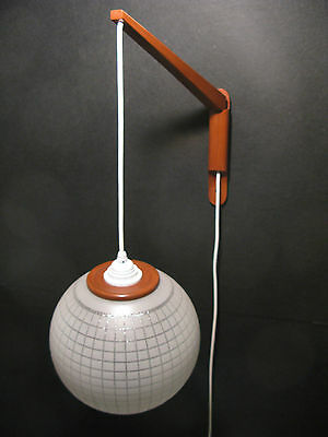 Teak And Glass Swing Arm Wall Pendant Lamp