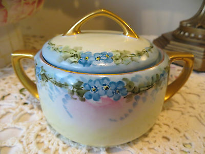 Vintage M Z Austria Hand Painted Signed Covered Dish Blue Flowers Gold Trim