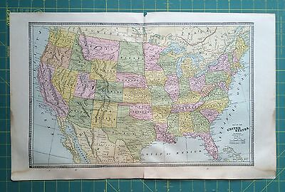 United States of America USA - Rare Original 1885 Antique Crams World Atlas Maps