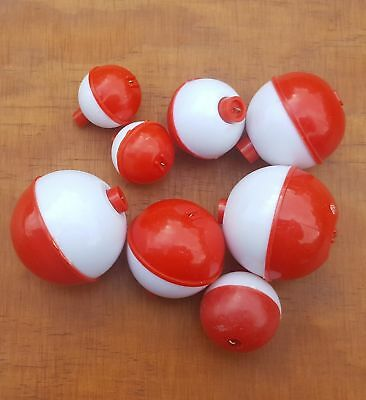 8pcs Bobber Ball Fishing Floats Red and White Mixed sizes
