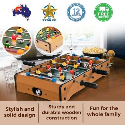 Mini Foosball Soccer Table Top Bench Indoor Small Portable Football Game Wood