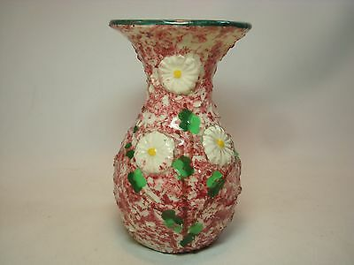 Mid Century Italian Art Pottery Hand Decorated Vase w Applied Florals