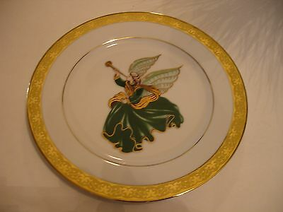 Vintage Muirfield Porcelain Angel Plate Gold Trim