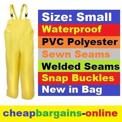 PVC WATERPROOF BIB & BRACE OVERALLS Size SMALL SAFETY YELLOW QUICK FIT BUCKLE