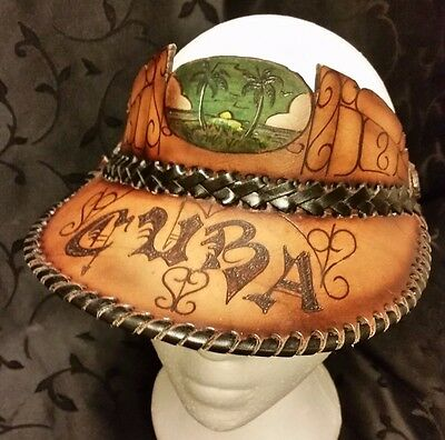 Cuba Leather Sun Visor Hat Palm Trees Sunset Hand Tooled Stitched Laced
