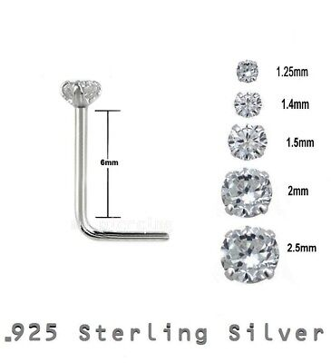2pcs L-Shaped Prong Set Clear Cubic Zirconia 22GA .925 Sterling Silver Nose Stud