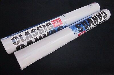 2 X  Artists Blank Canvas Rolls 2m x 40cm White Canvas Roll Gesso Primed
