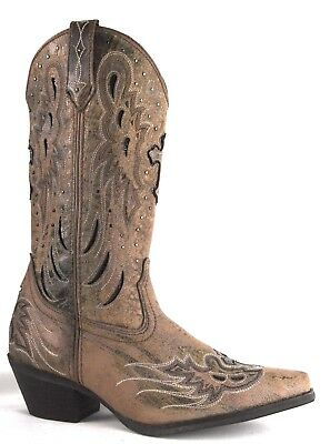 Laredo Womens Crosswing Taupe Leather Western Cowboy Boots 52157 RRP$245
