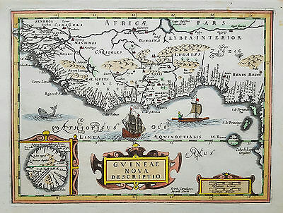 Original antique map of West Africa by Direk Cornelissen Swardt from 1690