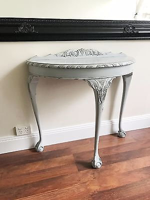 Queen Anne Style Shabby Chic half round Hall, Console Table With Carved legs