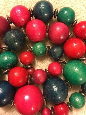 Vintage Wooden Necklace Jewelry Big Colorful Beads Multicolors Antique