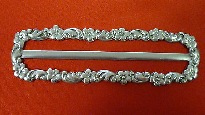 Antique Art Nouveau Sterling Silver Floral Motif Belt Buckle - Hallmarked