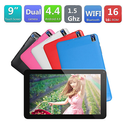 """9"""" Android4.4 A33 Quad Core 8GB Dual Camera Bluetooth Tablet PC AU Red"""