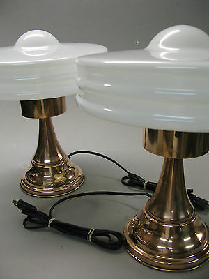 Mcm Pair Machine Age Art Deco Magbeth Monax  Copper Table Lamps