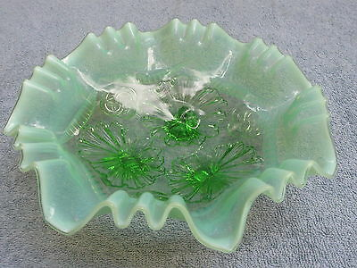 "Antique GREEN OPALESCENT 3-FOOTED BOWL ""Ruffles & Rings"" by Northwood/ Jefferson"