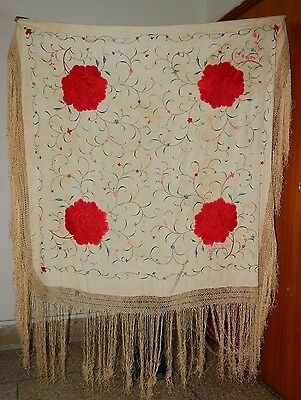 Antique Beautiful Chinese Hand Embroidered Silk Piano Shawl Multi Color (Ps124)