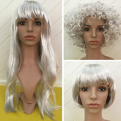BOB Medium Long Afro Wig Silver Wigs Costume Party Halloween Clown 70s 80s Disco