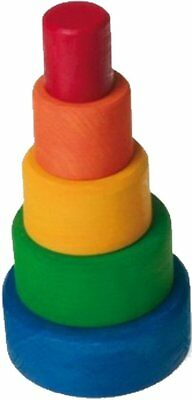 Grimm's Set of 5 Small Wooden Stacking & Nesting Rainbow Bowls, Blue Outside