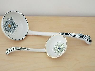 2 Matching Antique Pottery Transfer Printed Ladles, Little & Large
