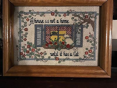 """A House is not home until it has a cat "" framed Crosstitch picture"