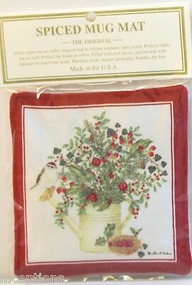 Alice's Cottage Cotton Scented Spiced Mug Mat Coaster Holiday Watering Can NEW