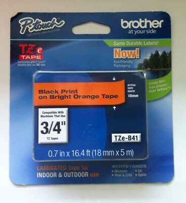 Brother TZeB41 Orange On Black P-Touch Label Tape 3/4 Inch Genuine Brother New.