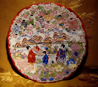 Vintage Geisha Girls Japan Plate 10""